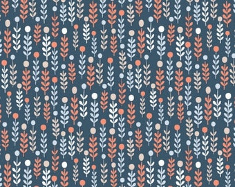 Navy Winter Sprigs Fabric