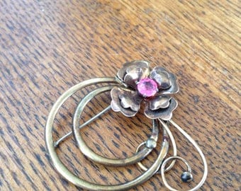 Brass Brooch with Pink Stone