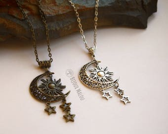 Khaleesi Sun and Stars Moon Necklace Khal Khaleesi Necklace Dothraki Inspired Moon Sun and Stars Necklace Silver or Bronze Long