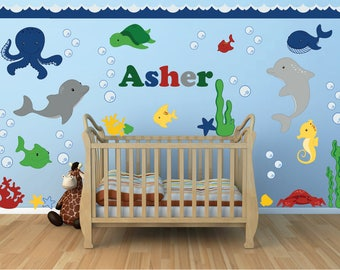 Ocean Wall Decals, Boys Room Wall Decals, Name Wall Decals, Ocean Wall Decor Part 80