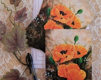 Poppies Floral Blank Note Cards 4 cards to a pack