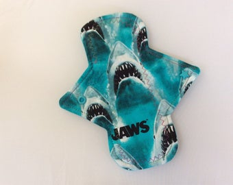 """8"""" Jaws on cotton   Top reusable cloth pad ( regular) with star  snaps"""