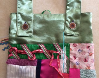 Walker Bag with fidget items and a variety of textures, sensory tote, busy bag