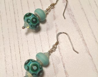 Oceanic Batik Turquoise Lampwork Glass and Sterling Silver Earrings