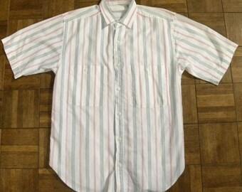 1980s 80s New Wave Shirt / Pink Gray Stripes / Boxy fit / Avant Garde / NKOTB / Mens / Vintage S