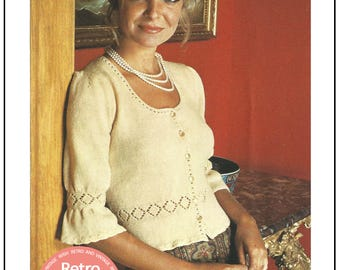 1970s Victorian Blouse Vintage Knitting Pattern – PDF Instant Download