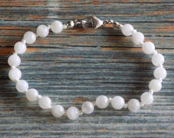 """7.5"""" Moonstone Healing Gemstone Bracelet Knotted on Nylon with Sterling Silver Findings Healing Crystals, Infused with Intention"""