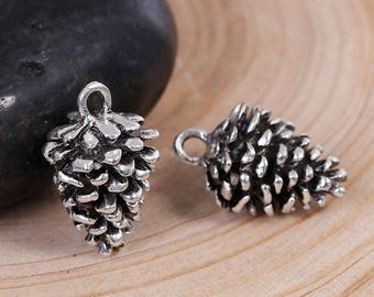 3D Antiqued Silver Large Pine Cone Pendant/Charm