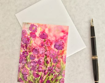 Note card. Art card. Greeting card. Print of original alcohol ink art. Garden Party.