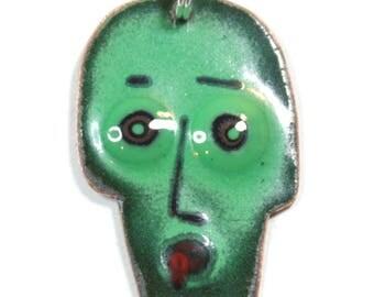 Green Skull Pendant, Enamel jewellery by Katherine Reekie.