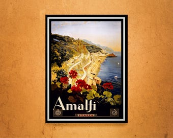 Reprint of a Vintage travel poster to Amalfi Italy