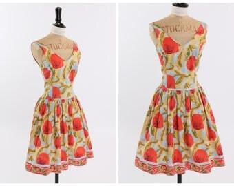 Vintage original 1970s 70s does 1950s 50s cotton floral print dress w border print UK 8 10 US 4 6 S