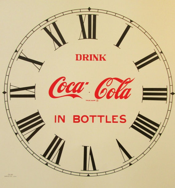 11 Inch Heavy Paper Reproduction Coca-Cola Advertising Clock Dial for your Clock Projects - Art Projects - Steampunk Art