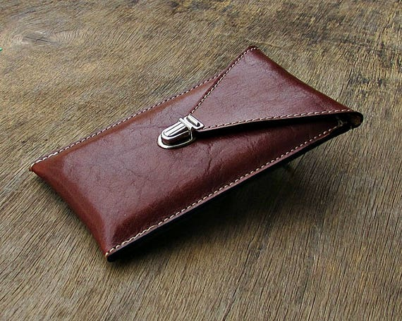 Leather Phone Case, Leather Phone Wallet, Mens Phone Case, Mens Phone Wallet, Phone Pouch, Phone Holster, Silver Clasps, 8 colors