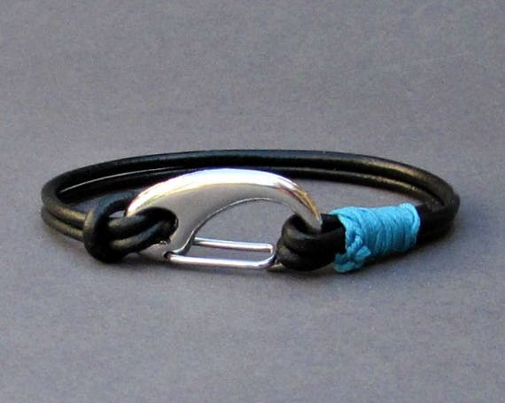 Mens Leather Shackle Bracelet Mens Silver Nautical Carabiner Leather bracelet Cuff Customized On Your Wrist