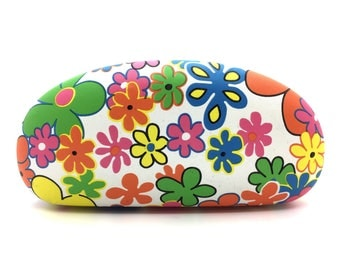White Hard Glasses Case with Multi-Color Flowers and Pink Lining