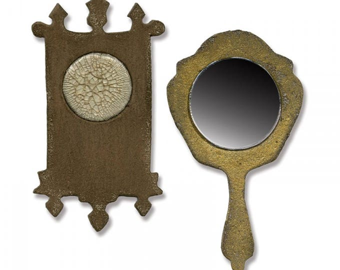 Sizzix Tim Holtz Movers & Shapers Magnetic Die - Mini Mirror and Wall Clock 658724