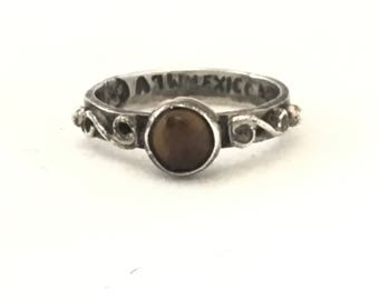 Small Sterling Silver Brown Stone Ring, Silver Swirls Ring, Mexico Ring, Child Size or Pinky Ring, Size 3.75, Rustic Distressed Ring