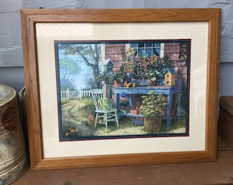 Home Interiors & Gifts Potting Bench Picture/Framed/Humphries