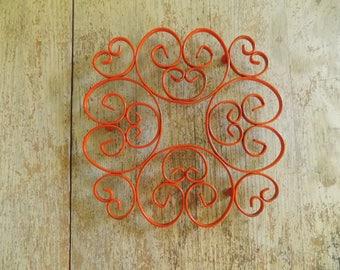 Vintage Orange Metal Footed Scroll Trivet | Mid Century Kitchen Enameled Pot Holder