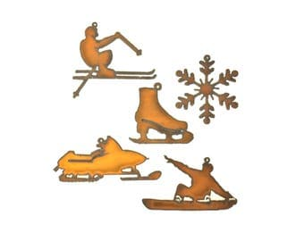 Winter Sports Rusty Metal Ornament Assortment