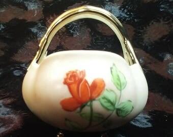 Adorable Mid-Century Modern Egg Shaped China Basket. Signed Cora Martha 1964