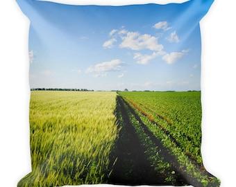 Square Pillow - Red Silo Original Art - Green Wheat & Beans