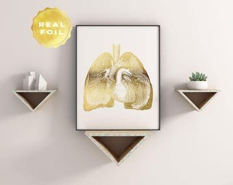 Lung Anatomy Print - Gold Foil - Anatomy Decor - Lung Art - Med Student Gift - Medical Office Decor - Anatomy Wall Decor - Medical Decor