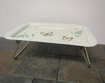 Metal Butterfly Lap Tray with fold up legs, Tv Tray, breakfast in Bed Tray, Wheat design ** mid century
