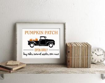 Pumpkin Patch Sign, Printable Wall Decor, Fall Sign, Wall Print, Digital Download, Customized Print
