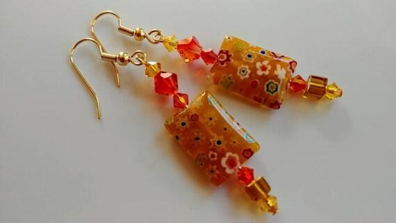 Crystal Millefiori Earrings, Yellow Dangle Earrings, Red Orange Yellow Long Earrings