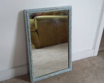 Vintage Painted Shabby Chic Mirror Duck Egg and Gilt.