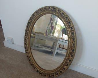 Vintage Gilt Oval Mirror.