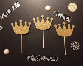 Crown Cupcake Toppers /  Bridal Shower Cupcake Toppers / Princess party cupcake toppers, Bachelorette cupcake toppers.