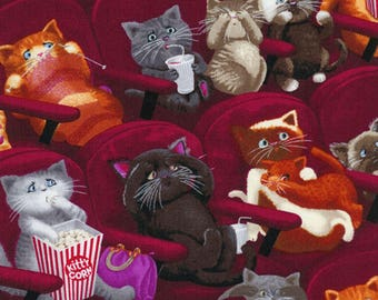 Scaredy Cats Kittens In the Movie Theater Timeless Treasures #6300 By the Yard