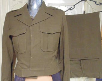 1950'S Eisenhower Jacket with Pants, Army Uniform, Jacket Size 38R, Pants 33 x 29
