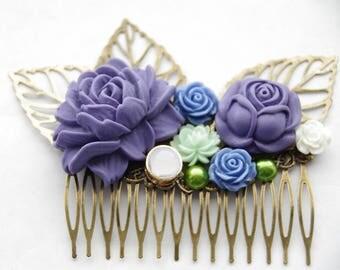 Decorative Comb, Purple Hair Comb, Wedding Hair Clip, Purple Flower Hair Clip, Shabby Chic Bridal Comb, Lilac Flower Hair Clip