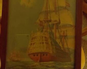 Pirate Ship Spanish Gslleon Print Vintage 1930's