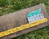 READY TO SHIP String Art Mini Toothbrush Sign