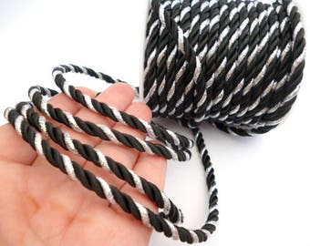 Bicolor Braided Silk Cord_PM012445574243/bs_ BRAIDED/ Black/Silver Cord_of 5 mm_Sales by yards