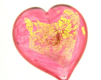 Heart of Gold Art Glass Paperweight Ruby, Small #6