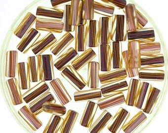 Furnace Glass Cane Beads, Plum with Brown Stripes, Small- Mini mixed size by Virginia Wilson Toccalino, 57 beads, Z6