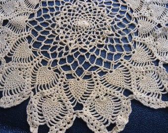Large Gold Hand Crochet Doilie