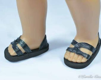 American Girl or 18 inch doll SHOES SANDALS beach flip flops peeptoe flats in BLACK Faux Leather  with Closed Heel