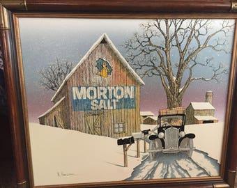 "H. Hargrove Vintage Farm Mailman Barn ""Morton Salt Girl"" Signed Country Landscape Serigraph Oil Painting on Canvas Framed 27.5"" X 23.5"""