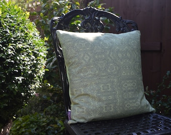 "Handmade 16""x16"" Cotton Cushion Pillow Cover in Wisteria Garden Party Collection Celery Green Lace Design Print"