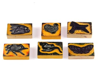 Vintage educational rubber stamps, set of 6 animals stamps