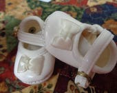 White Leather Doll  Shoes-Tallinas Doll Shoes Size 8-45mm-Vintage Shoes