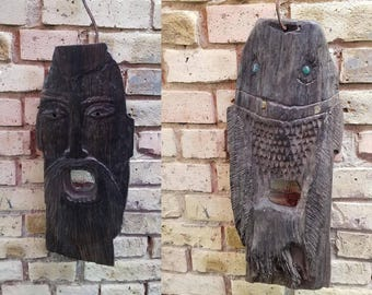 double-sided mask of bog oak