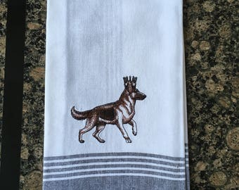 German Shepherd in Crown Tea Towel (Black Stripe)